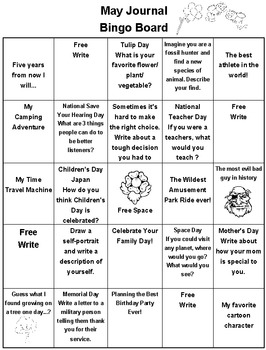 May Journal Bingo Board 5 x 5 Revised