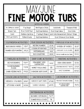 May/June Fine Motor Tubs