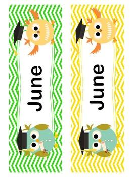 May / June Owl Calendar Cards and Headers (Graduation Theme)