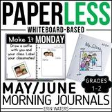 May/June Paperless 1st & 2nd Grade Morning Work {Whiteboard-based & EDITABLE}