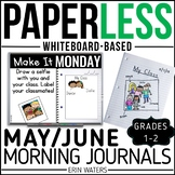 May/June Paperless 1st & 2nd Grade Morning Work {Whiteboard-based & EDITABLE}