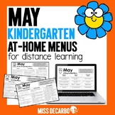 May Kindergarten At-Home Learning Menus for Distance Learning