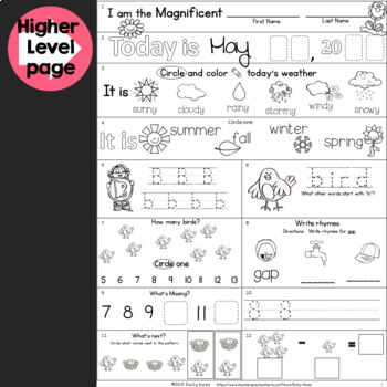 Morning Work: Kindergarten Packet for May (COMMON CORE) Spring DIFFERENTIATED