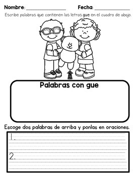 May Language Arts HW in Spanish for First Graders