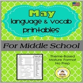 May Language and Vocabulary Printables for Middle School S