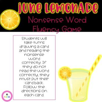 June Lemonade Nonsense Word Fluency Game