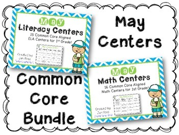 May Literacy & Math Centers Menu BUNDLE {CCS Aligned} Grade 1