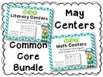 May Literacy & Math Centers Menu BUNDLE {Common Core Aligned} Grade 2