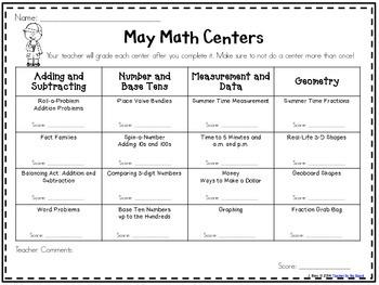 May Math Centers Menu {Common Core Aligned} Grade 2