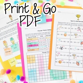 End of Year Math Activities | 2nd-3rd Grade Math Challenge Problems for May June