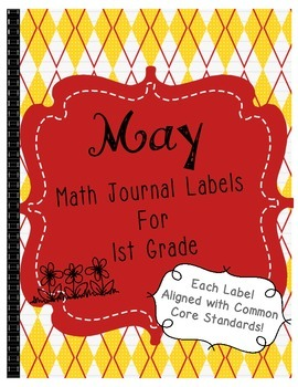 May Math Journal Labels ~ CCSS Aligned