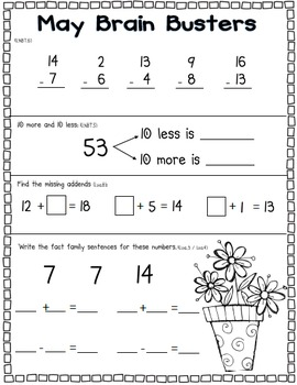 May Math Pack (1st Grade Common Core)