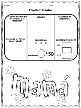 May Math Practice in Spanish for SECOND GRADE
