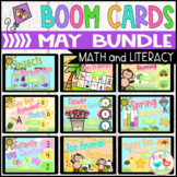 May Math and Literacy Boom Cards Bundle