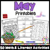 May Math and Literacy Printables and Activities For Kindergarten