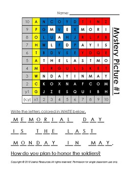 May (May Day and Memorial Day) Mystery Pictures and Hidden Messages