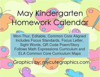 May Mon.-Thur. Editable Common Core Kindergarten 4 Week Homework Calendar