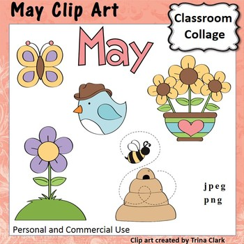 May Month Calendar Clip Art - Color - personal & commercial use