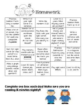 May Monthly Homework Menu