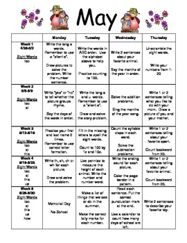 May Monthly Homework for Kindergarten- Editable