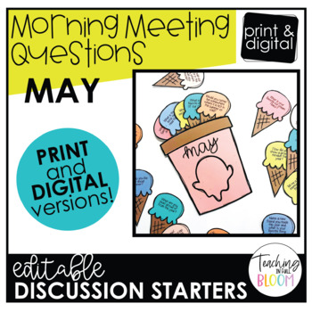 Editable May Morning Meeting Question Cards