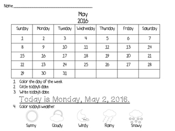 May Morning Work Calendar