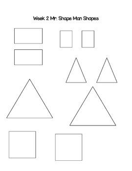 Mr. Shape Man Math Stations Week 1 & 2 CC Aligned K.G.6