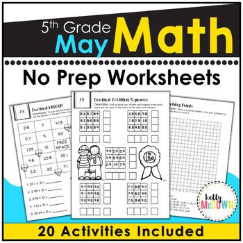 May NO PREP Math Packet - 5th Grade