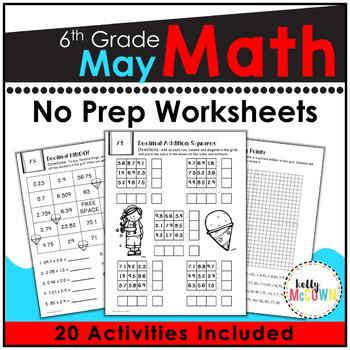 May NO PREP Math Packet - 6th Grade
