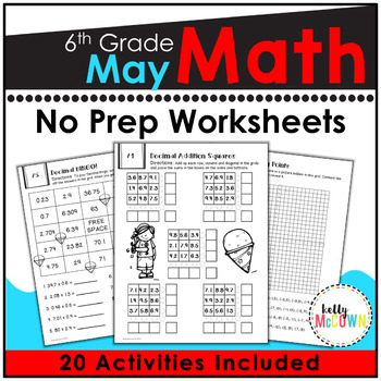 May Math Worksheets 6th Grade | Distance Learning Math Packet Grade 6