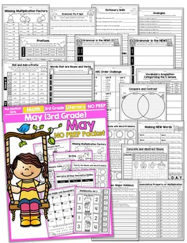 May NO PREP Math and Literacy (3rd Grade)