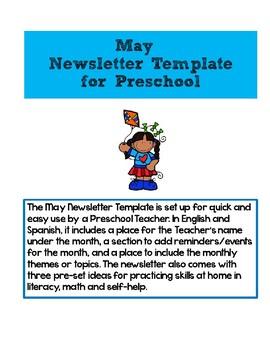 May Newsletter Template for Preschool-Editable