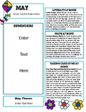 May Newsletter Template for Preschool-Editable
