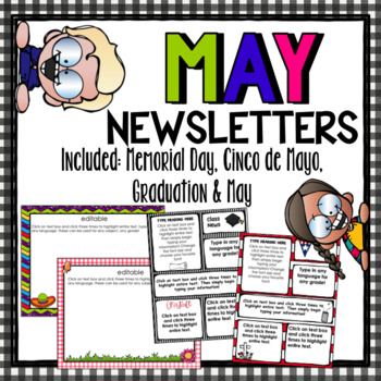 May Newsletters~ Includes Cinco de Mayo, Graduation, and Memorial Day/Editable