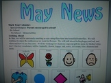 May Newsletter with Boardmaker Symbols for non-verbal learners