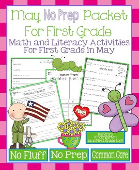 May No Prep Math and Literacy Packet for First Grade (Common Core)