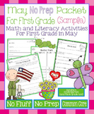May No Prep Math and Literacy Packet for First Grade Common Core (Sample)