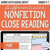 May Nonfiction Close Reading Comprehension - Online/Distan