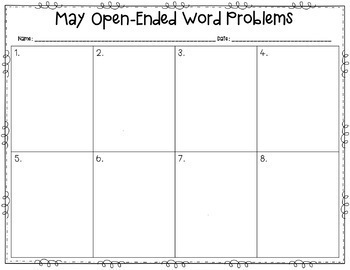 Open-Ended Word Problems {May}