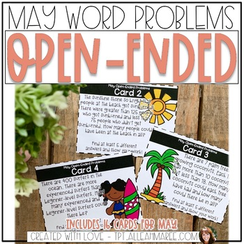 Open Ended Word Problem Task Cards for May