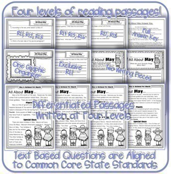 May Passages w/ CCSS Text Based Questions {Weekly Homework:Close Reading}