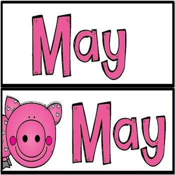May Pig Theme Illustrated Calendar Set and Desk Plates