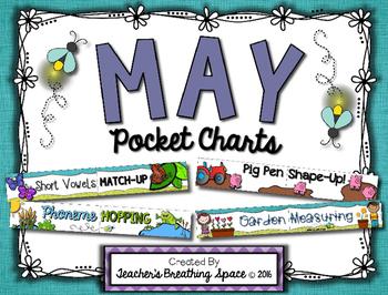 May Pocket Charts --- Four Math and Literacy Pocket Charts for May