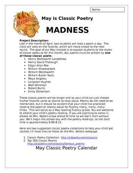 March Poetry Madness Project Description and Editable Calendar