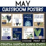 May Posters Bulletin Board Boho Rainbow Posters Spring Sum
