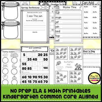 Kindergarten No Prep Phonics, Literacy & Math Work for May