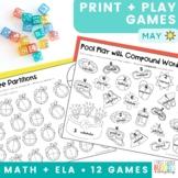May Print and Play No Prep Math and Phonics Games