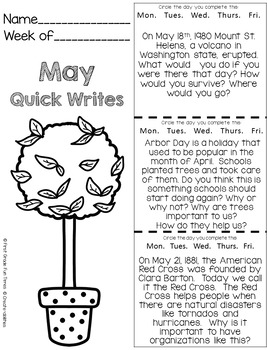 May Quick Writes Writing Prompts for Upper Elementary