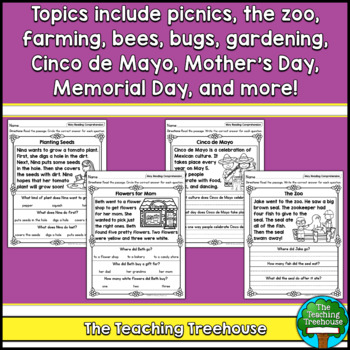 May Reading Comprehension Passages for Kindergarten and First Grade