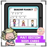 May Reading Fluency Digital Task Cards (Boom Cards™)
